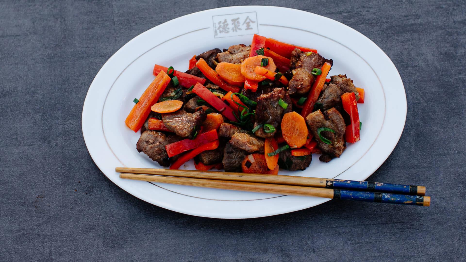Schweinefleisch aus dem Wok mit Austernsauce - Haoyou Chao Zhurou