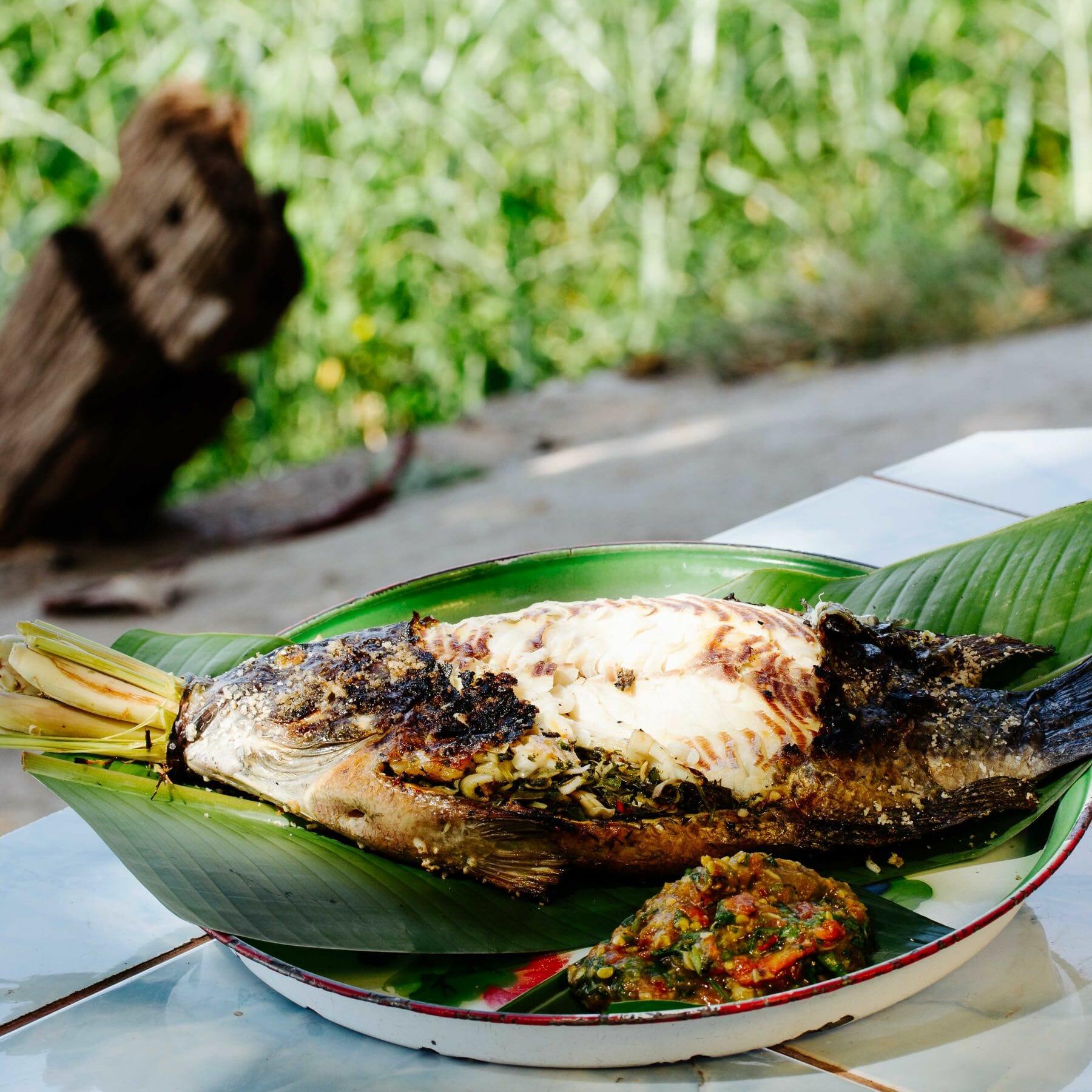 Gegrillter Mekongfisch in Salzkruste mit Kräutern gefüllt