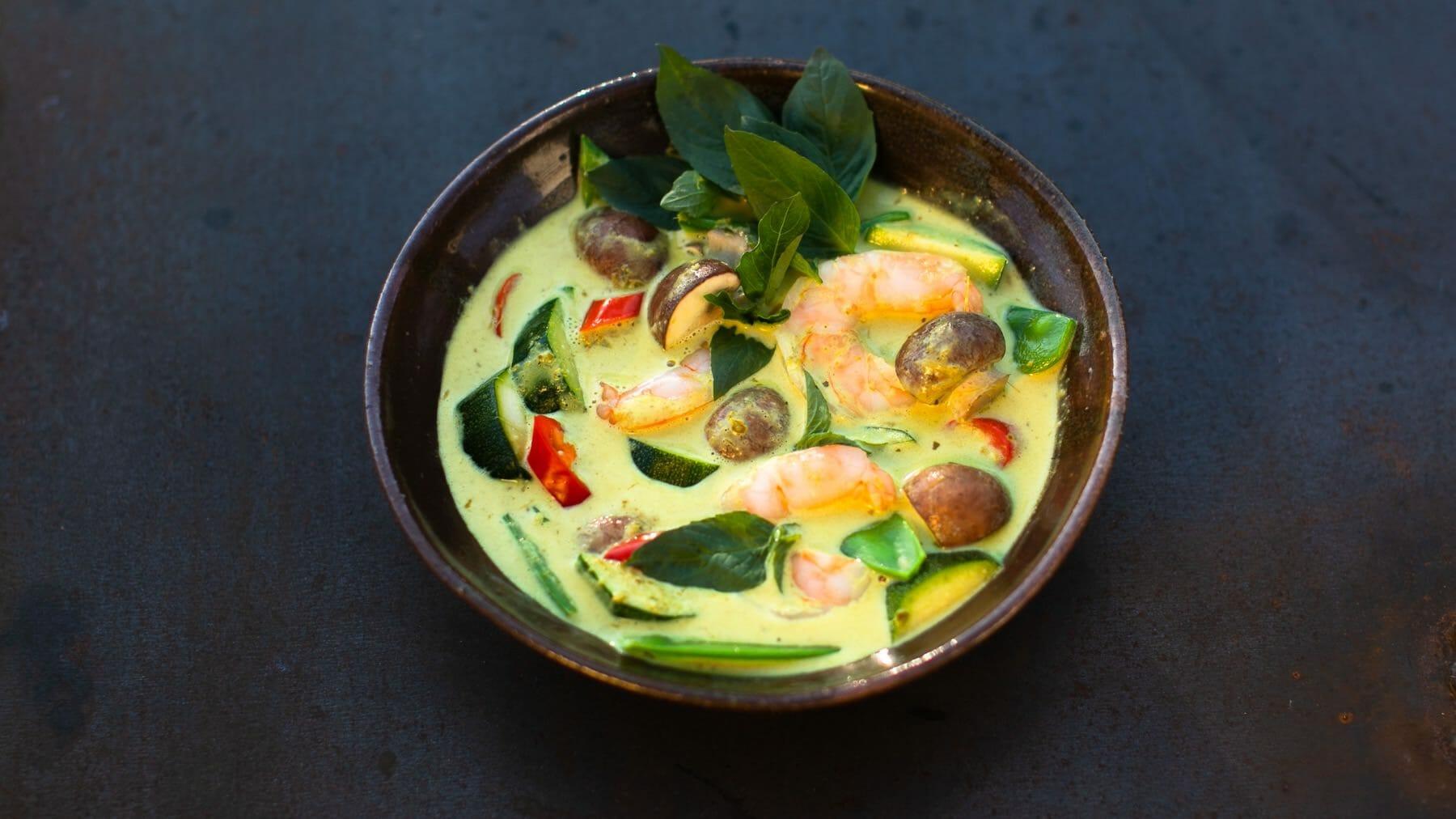 Grünes Thai-Curry mit Garnelen –